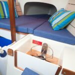 Adventure 19 interior shot of cooker and v berth